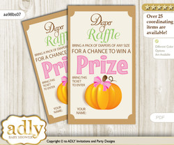 Girl Pumpkin Diaper Raffle Printable Tickets for Baby Shower, Lime Pink, Fall