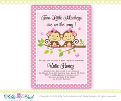 Pink, Brown, Green Twin Monkeys baby shower invitation with 2 girl monkeys