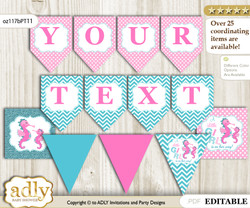 DIY Personalizable Girl Seahorse Printable Banner for Baby Shower, Pink teal, Glitter