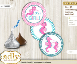 Printable  Girl Seahorse Candy Kisses for Baby Girl Shower DIY Pink teal , Glitter
