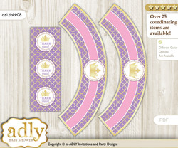 Printable Royal Princess Cupcake, Muffins Wrappers plus Thank You tags for Baby Shower Purple Pink, Crown