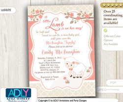 Peach Beige Little Lamb Girl Baby Shower Invitation for a New Baby Girl, Peach Lambie