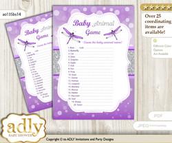 Printable Girl Dragonfly Baby Animal Game, Guess Names of Baby Animals Printable for Baby Dragonfly Shower, Purple Grey, Bokeh