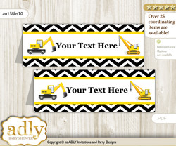 DIY Text Editable Printable Truck Construction Buffet Tags or Food Tent Labels  for a Baby Shower or Birthday , Yellow Black, Chevron