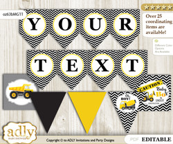 DIY Personalizable Truck Construction Printable Banner for Baby Shower, Yellow Black, Chevron
