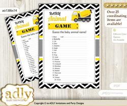 Printable Truck Construction Baby Animal Game, Guess Names of Baby Animals Printable for Baby Construction Shower, Yellow Black, Chevron