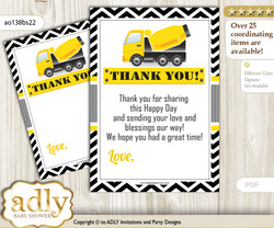 Truck  Construction Thank you Cards for a Baby Truck Shower or Birthday DIY Yellow Black, Chevron