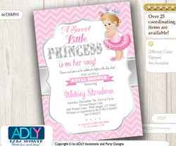 Pink, Silver Blond Princess with Tutu, Crown and Pearls Invitation