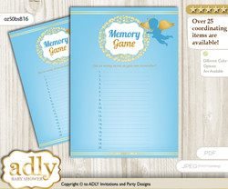 Boy Angel Memory Game Card for Baby Shower, Printable Guess Card, Gold Blue, Heaven