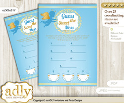 Boy Angel Dirty Diaper Game or Guess Sweet Mess Game for a Baby Shower Gold Blue, Heaven