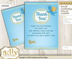 Boy  Angel Thank you Cards for a Baby Boy Shower or Birthday DIY Gold Blue, Heaven