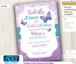 Purple Teal Butterfly Kisses and Birthday Wishes Invitation for a Butterfly Birthday, lavender, turquoise, flutter on over - ao129hb
