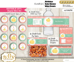 DIY Text Editable Gold Pumpkin Baby Shower, Birthday digital package, kit-cupcake, goodie bag toppers, water labels, chocolate bar wrappers