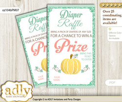 Gold Pumpkin Diaper Raffle Printable Tickets for Baby Shower, Mint, Coral