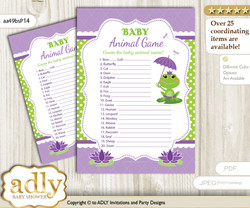 Printable Girl Frog Baby Animal Game, Guess Names of Baby Animals Printable for Baby Frog Shower, Green Purple, Polka