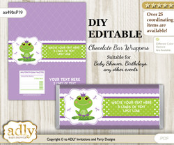 DIY Personalizable Girl Frog Chocolate Bar Candy Wrapper Label for Girl  baby shower, birthday Green Purple , editable wrappers
