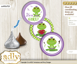 Printable  Girl Frog Candy Kisses for Baby Girl Shower DIY Green Purple , Polka