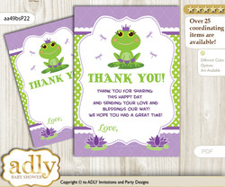 Girl  Frog Thank you Cards for a Baby Girl Shower or Birthday DIY Green Purple, Polka