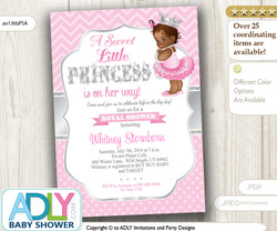 Pink, Silver African Princess with Tutu, Crown and Pearls Shower Invitation