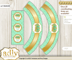 Printable African Prince Cupcake, Muffins Wrappers plus Thank You tags for Baby Shower Gold, Mint