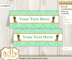 DIY Text Editable Printable African Prince Buffet Tags or Food Tent Labels  for a Baby Shower or Birthday , Gold, Mint