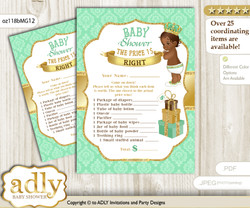 Printable African Prince Price is Right Game Card for Baby Prince Shower, Gold, Mint