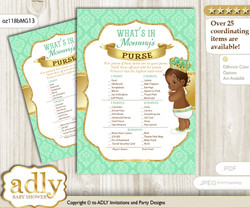 African Prince What is in Mommy's Purse, Baby Shower Purse Game Printable Card , Gold,  Mint