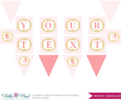 Personalized Little Angel Printable Banner for Baby Shower,Gold, Pink