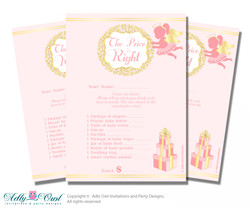 Printable Little Angel Price is Right Game Card for Baby Angel Shower, Gold, Pink