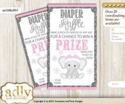 Girl Elephant Diaper Raffle Printable Tickets for Baby Shower, Pink Grey, Winter