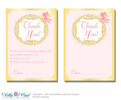 Little Angel Thank you Cards for a Baby Little Shower or Birthday DIY Gold, Pink
