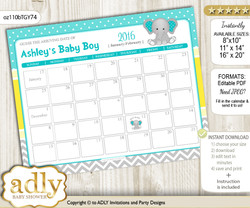 DIY Boy Elephant Baby Due Date Calendar, guess baby arrival date game