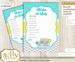Boy Elephant Wishes for a Baby, Well Wishes for a Little Elephant Printable Card, Grey, Mint Yellow