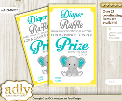 Boy Elephant Diaper Raffle Printable Tickets for Baby Shower, Mint Yellow, Grey