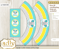 Printable Boy Elephant Cupcake, Muffins Wrappers plus Thank You tags for Baby Shower Mint Yellow, Grey