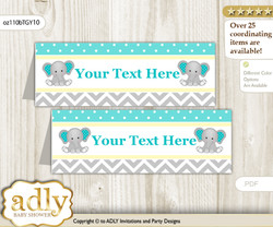DIY Text Editable Printable Boy Elephant Buffet Tags or Food Tent Labels  for a Baby Shower or Birthday , Mint Yellow, Grey
