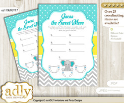 Boy Elephant Dirty Diaper Game or Guess Sweet Mess Game for a Baby Shower Mint Yellow, Grey