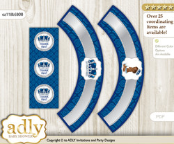 Printable African Prince Cupcake, Muffins Wrappers plus Thank You tags for Baby Shower Silver blue, Crown
