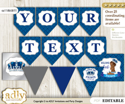 DIY Personalizable African Prince Printable Banner for Baby Shower, Silver blue, Crown