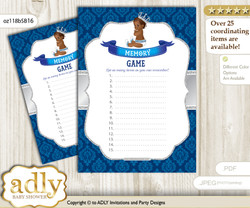 African Prince Memory Game Card for Baby Shower, Printable Guess Card, Silver blue, Crown