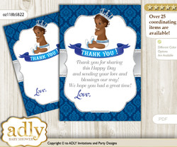 African  Prince Thank you Cards for a Baby African Shower or Birthday DIY Silver blue, Crown