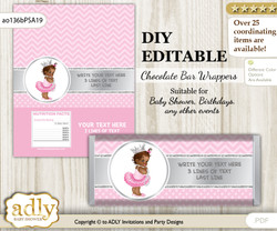 Personalizable African Princess Chocolate Bar Candy Wrapper Label for African  baby shower, birthday Pink Silver , editable wrappers