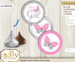 Printable  Girl Butterfly Candy Kisses for Baby Girl Shower DIY Pink Grey , Summer