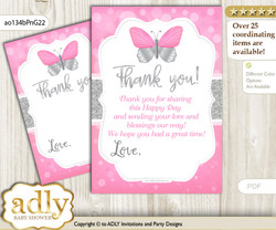 Girl  Butterfly Thank you Cards for a Baby Girl Shower or Birthday DIY Pink Grey, Summer