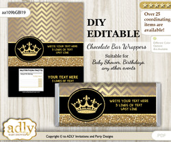 DIY Personalizable Prince Royal Chocolate Bar Candy Wrapper Label for Prince  baby shower, birthday Black Gold , editable wrappers