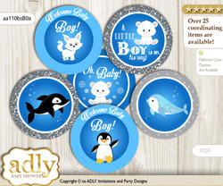 Baby Shower Boy Arctic Cupcake Toppers Printable File for Little Boy and Mommy-to-be, favor tags, circle toppers, Winter, Blue Silver
