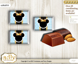Prince Mickey Chocolate Nuggets Candy Wrapper Label for Baby Prince Shower  blue gold , Royal