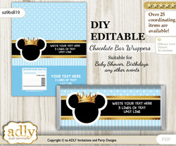 DIY Personalizable Prince Mickey Chocolate Bar Candy Wrapper Label for Prince  baby shower, birthday blue gold , editable wrappers
