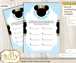 Prince Mickey Guess Baby Food Game or Name That Baby Food Game for a Baby Shower, blue gold Royal