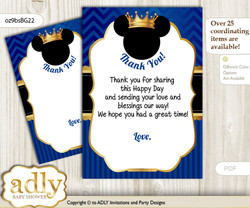Prince  Mickey Thank you Cards for a Baby Prince Shower or Birthday DIY Blue Gold, Royal n